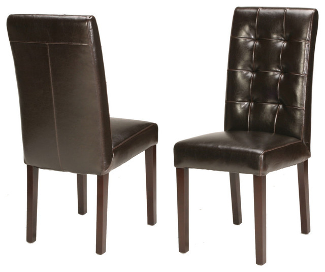 genuine leather tufted dining chair - traditional - dining chairs