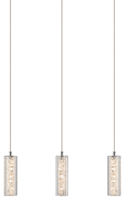 Chrome Finish Led 3 Clear Crystals With Crystal Beads Pendants Island Chandelier.