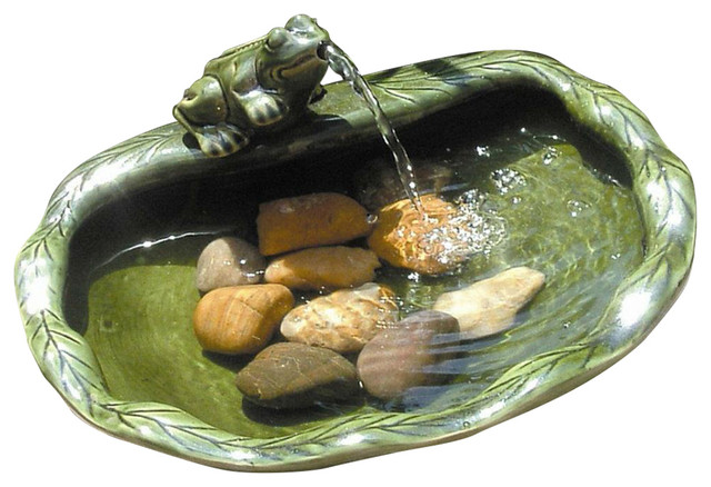 Green Glazed Ceramic Fountain Bird Bath With Frog And Solar Pump Contemporary Outdoor Fountains Ponds By Hilton Furnitures