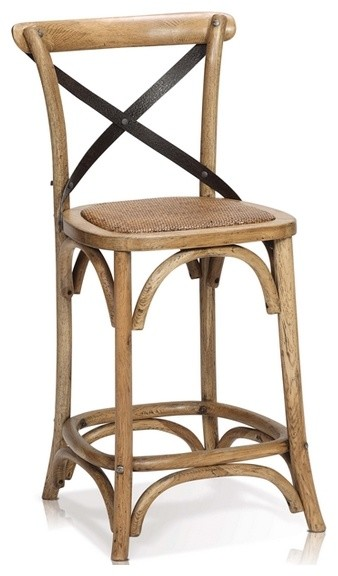 oak wood counter stool with cross iron back rustic bar stools and counter stools by artefac. Black Bedroom Furniture Sets. Home Design Ideas
