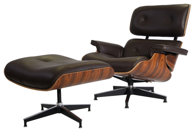 Plywood lounge chair real leather contemporary indoor for Brown chaise lounge indoor