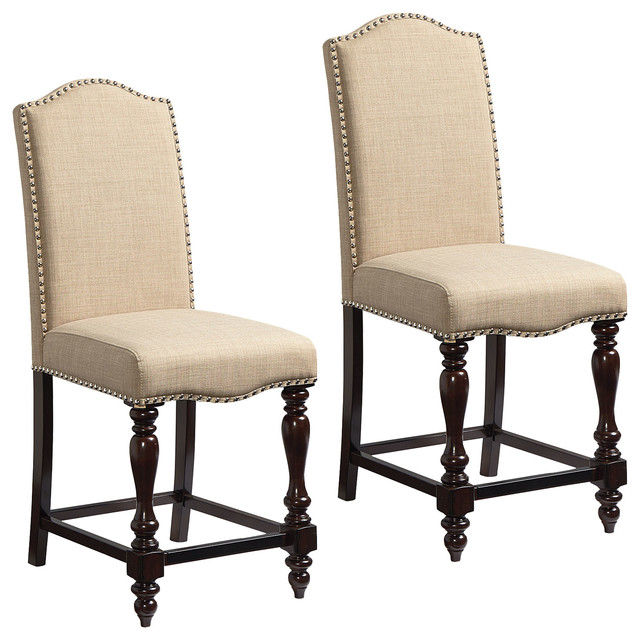 Groovy Mcgregor Beige Upholstered Counter Height Chairs Set Of 2 Ncnpc Chair Design For Home Ncnpcorg