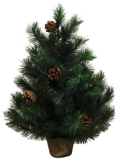 Royal Oregon Long Needle Pine Artificial Christmas Tree in Burlap Base -Unlit - Traditional - Christmas Trees - by Northlight Seasonal
