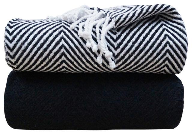herringbone throw blankets black and white set of 2