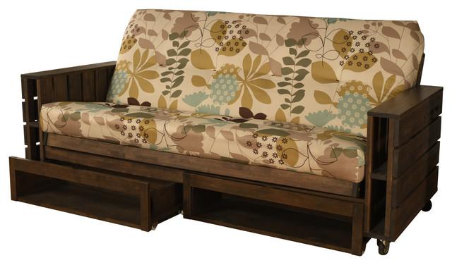 Ashland Frame Futon, Rustic Walnut, Storage Drawers, English Garden  Mattress   Rustic   Futons   By Studio Living