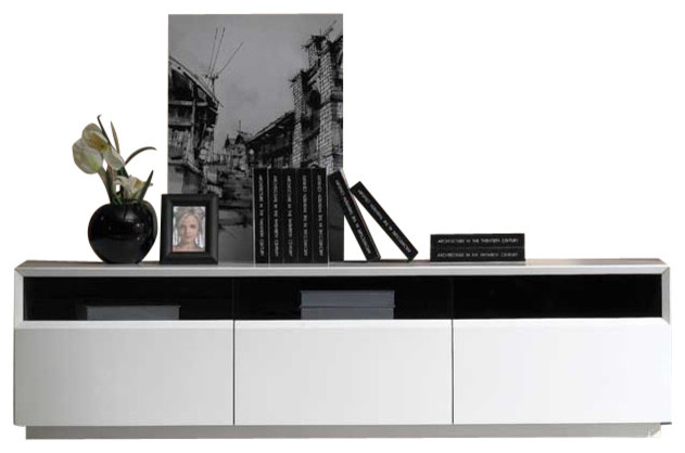 Tv023 White High Gloss Tv Stand Contemporary Entertainment