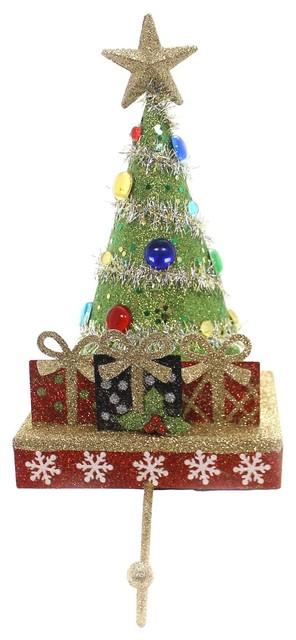 Christmas Tree Stocking Holder.Christmas Christmas Tree Stocking Holder Polyresin Gold Star Tinsel H2800