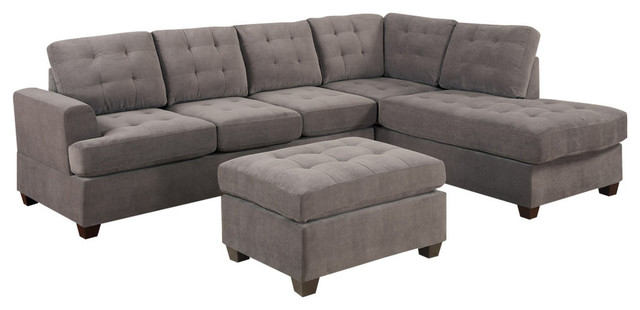 Reversible Gray Charcoal Sectional Sofa Couch, Chaise and Ottoman, 3-Piece  Set