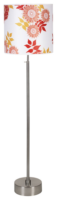 Cancan 2 Adjustable Floor Lamp In Brushed Nickel Finish With Anna Red Shade.