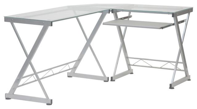 Techni Mobili L Shaped Glass Computer, White Glass Computer Desk
