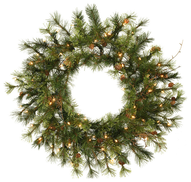 Prelit Mixed Country Wreath, 35 Clear, 20.