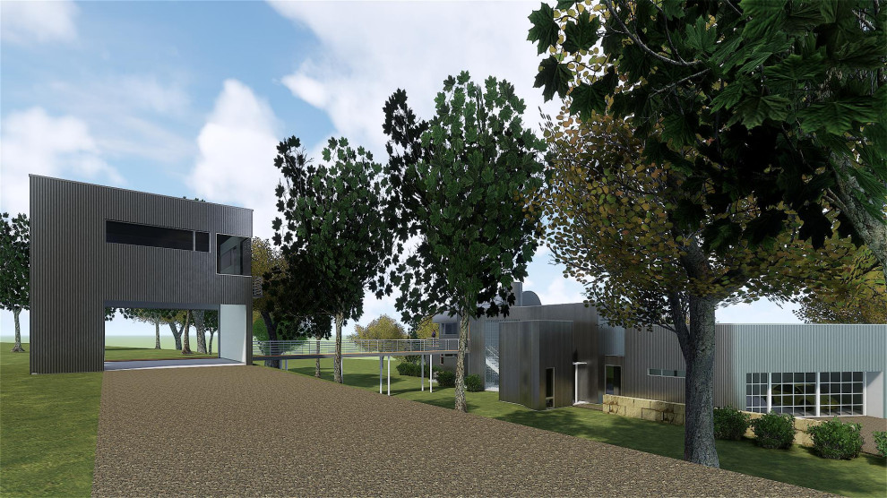 Example of a mid-sized urban home design design in Austin