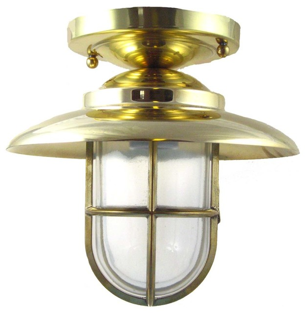 Shiplights hooded flush mount light solid brassinterior hooded flush mount light solid brassinterior exterior by shiplights beach style mozeypictures Choice Image