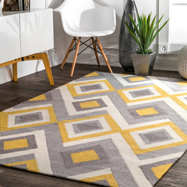 Aaris Hand Hooked Area Rug Green Contemporary Area Rugs By Nuloom Houzz
