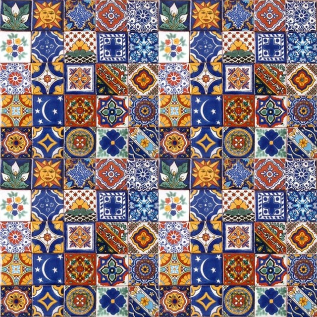 2x2 Handpainted Talavera Mexican Tiles 100Piece Set