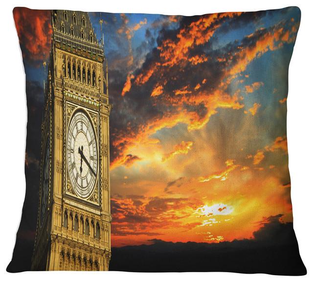 Big Ben Uk London At Sunset Panorama Landscape Printed Throw Pillow 26 X26