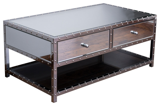 Ryanne Studded Mirrored 2 Drawer Coffee Table Contemporary Coffee Tables