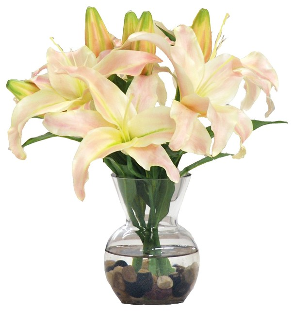 Casablanca Lily In Glass Vase With River Rocks Contemporary