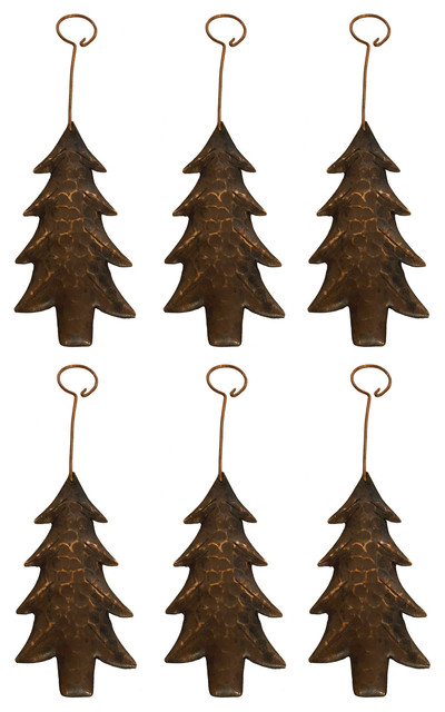 Copper Christmas Ornaments.Hand Hammered Copper Christmas Tree Ornament Set Of 6