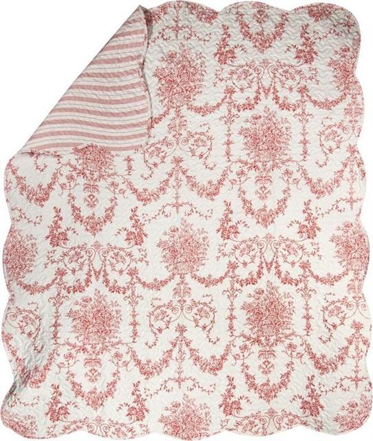 Toile Print Reversible Quilt Red 60 Quot X50 Quot Farmhouse