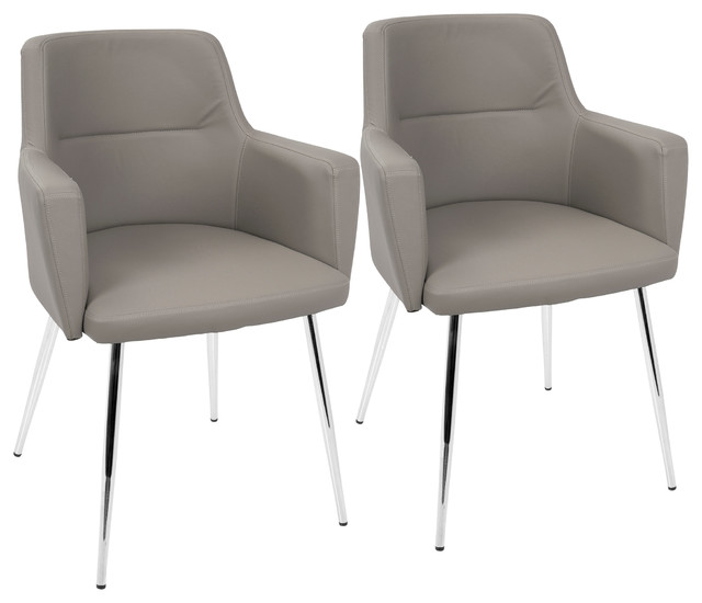 Sensational Lumisource Andrew Dining Chair Gray Pu Set Of 2 Ncnpc Chair Design For Home Ncnpcorg