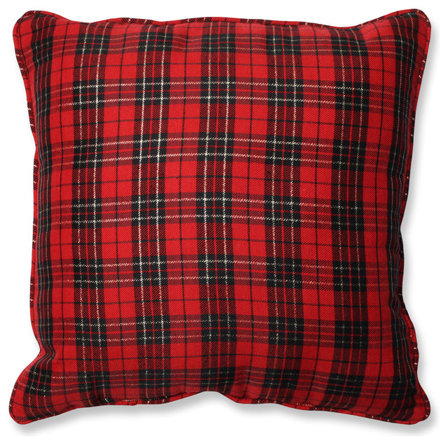 Decorative Plaid Pillows : Holiday Plaid Throw Pillow - Rustic - Decorative Pillows - by Pillow Perfect Inc