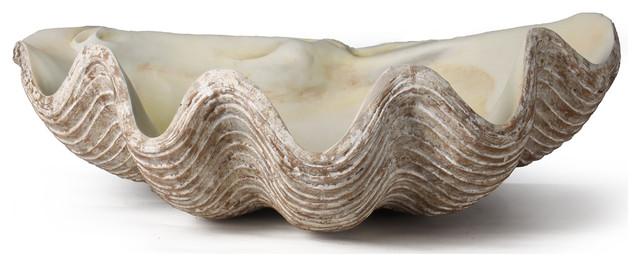 La Mer Coastal Decorative Clam Shell Bowl Sculpture