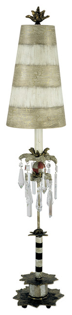 Traditional Style Table Lamp, Cracked Putty Finish
