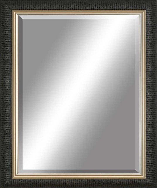 Shop Houzz Paragon Decor Beveled Mirror Ribbed Black Gold Inlay Wall Mirrors