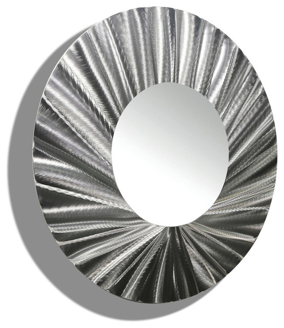 Circle Metal Wall Art huge silver handmade round metal wall mirror contemporary-modern
