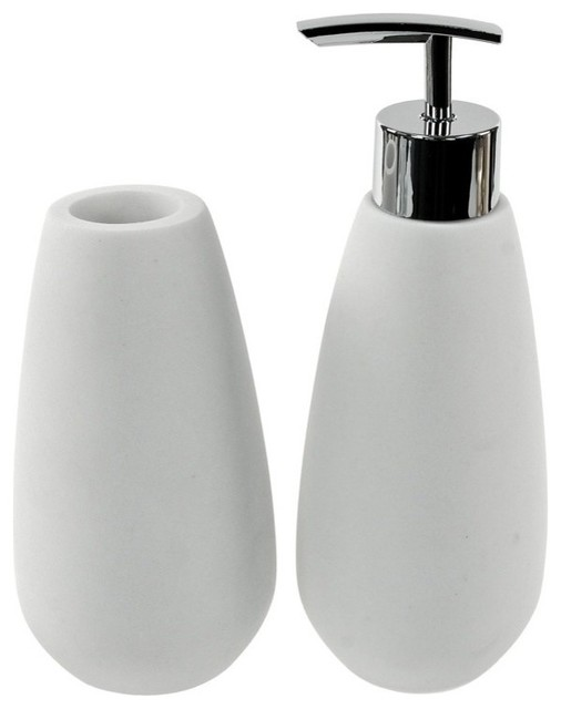 2 piece white stone bathroom accessory set contemporary for White bath accessories sets