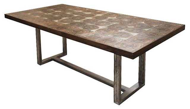 Bromley Rustic Timber Oak Chunky Wood Iron Rectangle  : industrial dining tables from www.houzz.com size 640 x 368 jpeg 38kB