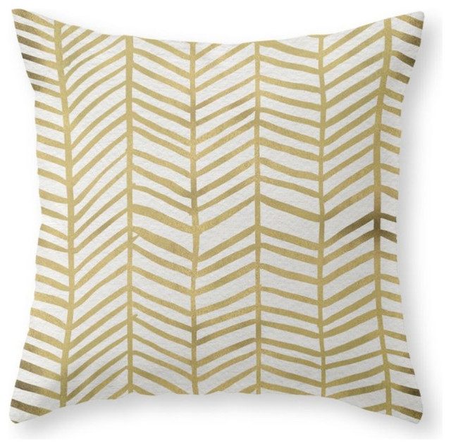 Scandinavian Design Throw Pillows : Gold Herringbone Throw Pillow - Scandinavian - Decorative Pillows - by Society6