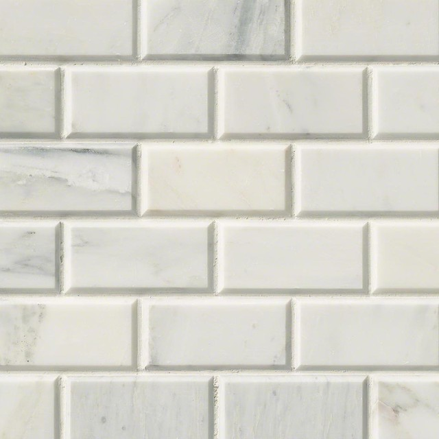 """Honed And Beveled Arabescato Carrara Marble Tile, Chip Size: 2""""x4"""", 20 Sq. Ft.."""