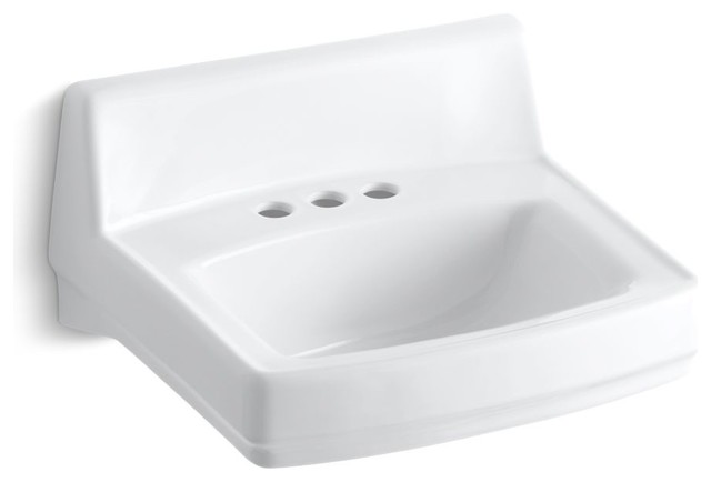 Kohler Greenwich Wall-Mount/concealed Arm Carrier Sink, 20.75x18.25, White.