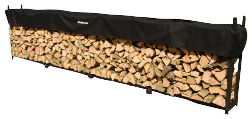 1 Cord (16 Ft) Woodhaven Firewood Rack With Cover traditional-firewood-racks