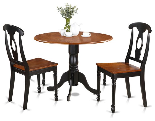 East west furniture 42 round small dining room table for Black round dining table with leaf
