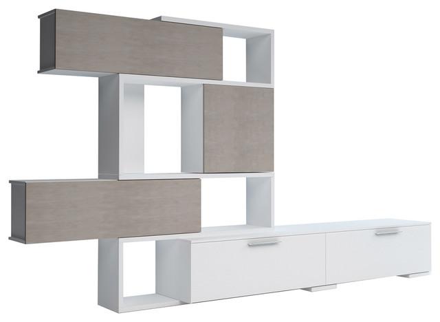 4k Tv Wall Unit, White/concrete.