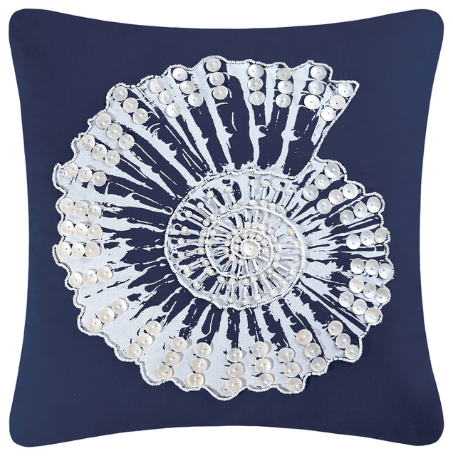 Nautilus Shell Embroidery Pillow.