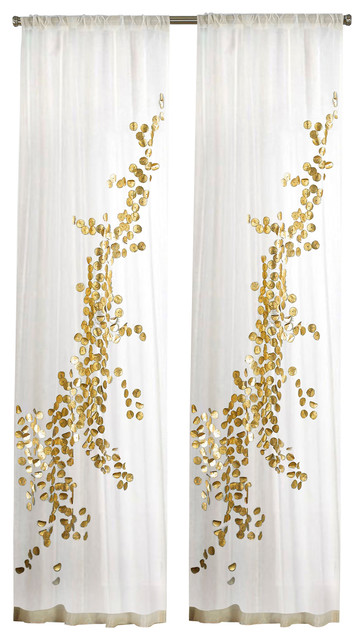 white and gold curtains Sheer Curtain Panel With Discs, White and Gold   Contemporary  white and gold curtains