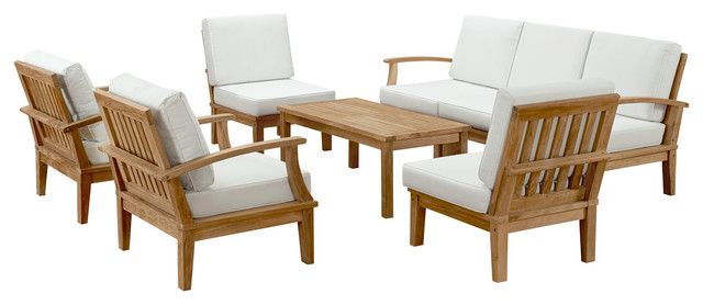 Marina 8-Piece Outdoor Premium Grade A Teak Wood Set, Natural White