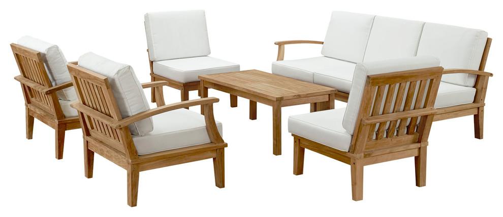 Marina 8 Piece Outdoor Premium Grade A Teak Wood Set Transitional Outdoor Lounge Sets By Modway Houzz