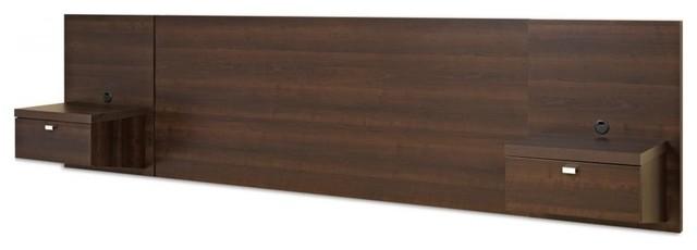 Prepac Series 9 Designer Floating King Headboard With Nightstands.