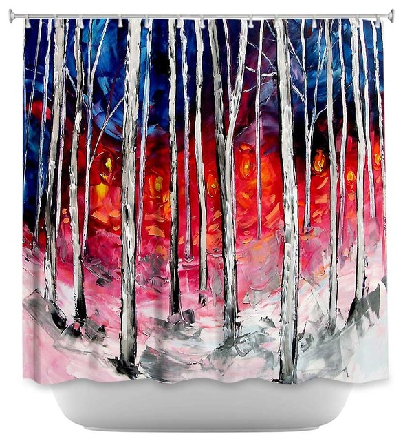 Shower Curtain Unique From Dianoche Designs Silver Birch Contemporary Shower Curtains By