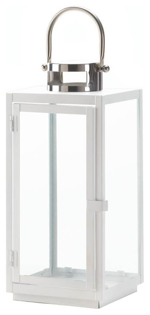 "Carrel White Lantern, 15.25"" contemporary-candleholders"