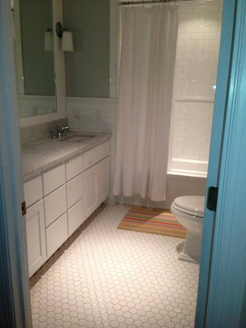 small hexagon bathroom tiles small or larger hexagon tile in 1920 bathroom 20546