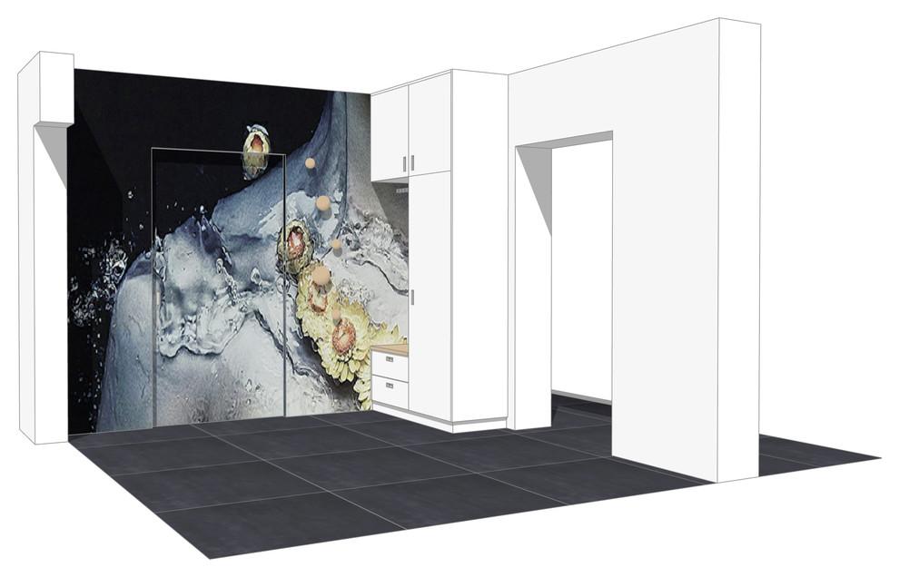 Entwurf einer Flurgarderobe unter Einbindung der Tür
