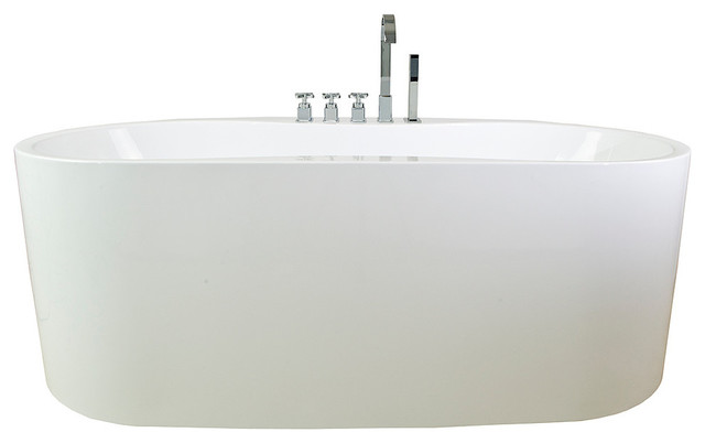 "67"" Bathroom White Color Freestanding Acrylic Bathtub."