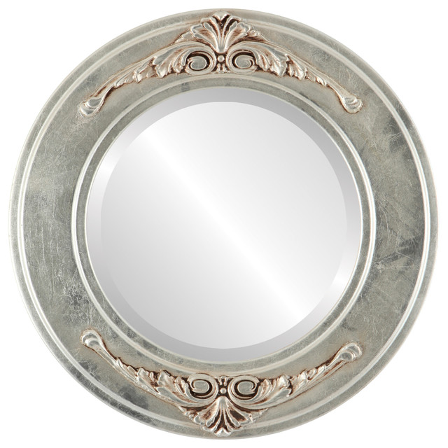 Ramino framed round mirror in silver leaf with brown for Round silver wall mirror