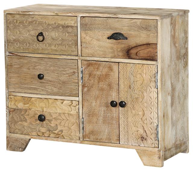 Country Farmhouse Mango Wood Rustic Free Standing Storage Cabinet - Farmhouse - Storage Cabinets ...
